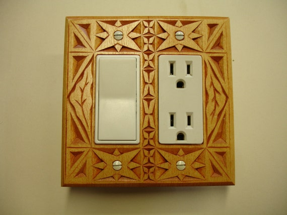 Switch or outlet cover plate, wood