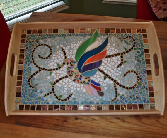 Large Serving Tray With Stained Glass Bird Dove Mosaic