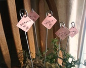 Summer Sale Price ** Set of 5 - Custom Copper Plant Markers - Your Choice Personalized Basil Thyme Parsley Dill Cilantro Garden Markers