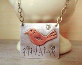 Copper Bird Sterling Silver Pendant Mixed Metal Hand Stamped ONE OF A KIND