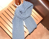Men's scarf, navy blue, cable knit