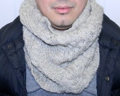 Mens cowl, wool, cable knit, oatmeal color
