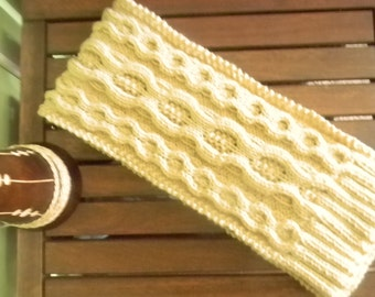 Men's scarf, cable knit, handknitted, light tan color