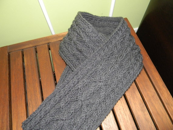Men's scarf, charcoal grey, unique cable knit READY to ship