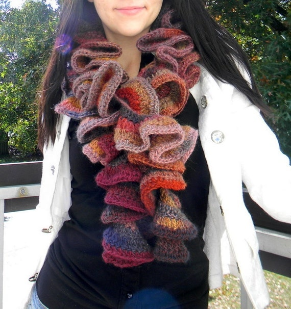 Womens scarf, wool, bulky and  long, multicolor, Joshua Tree. Shipped in 1 day