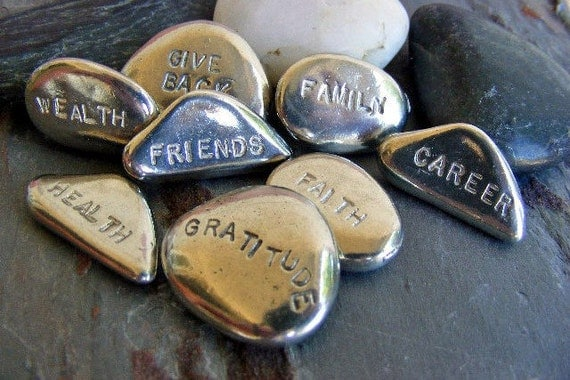 Reserve for Traci - 1 long stone hand stamped with FATE All Upper case