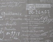 FABRIC SQUARE 27x27 french script 27x27 inches