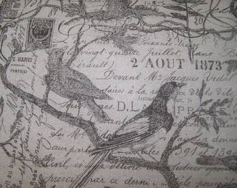 Birds Stone Color On Heavy Basket French Script Print Fabric