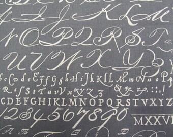 Script Chalkbord Slate designer upholstery curtain bedding multipurpose fabric