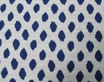 Sahara Indigo Blue white flax designer, drapery/bedding/upholstery ikat fabric