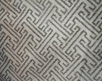 Ikat Fretwork Fossil on heavy basket multipurpose fabric