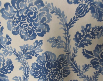 Blue floral toile style print fabric