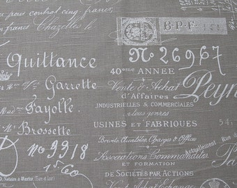 FRENCH SCRIPT documents print on linen/taupe
