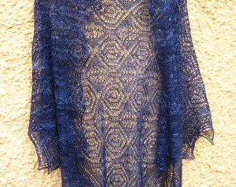 Gorgeous Monte Cristo Triangle Shawl in Pure Silk
