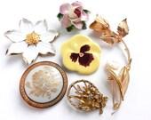 Vintage Flower Pins - Lot of 6 Retro Floral Pins / Summer Flower Bouqet