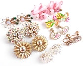 Vintage Flower Clip On Earring Lot - 8 Pairs of Bright Costume Jewelry / Spring Collection