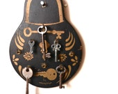 Vintage Key Holder - Rustic Black & Gold Wood Wall Hanging / Skeleton Key