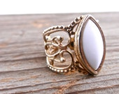 Vintage Filigree Ring - Gold Tone 1970s White Stone Costume Jewelry / Ornate Swirl
