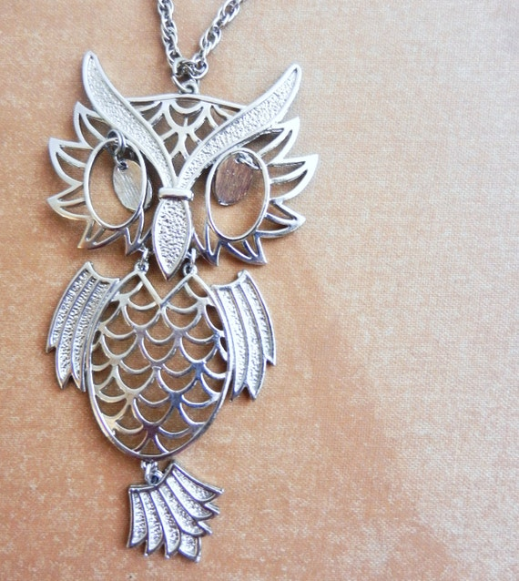 Owl Necklavce - Vintage, Silver Tone, 1970s Retro Jewelry