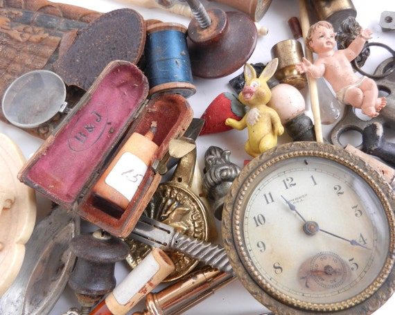 Antique Finding Destash Lot - Repair, Repurpose -  Glass, Metal, Doll, Toys, Clock, Parts - Build