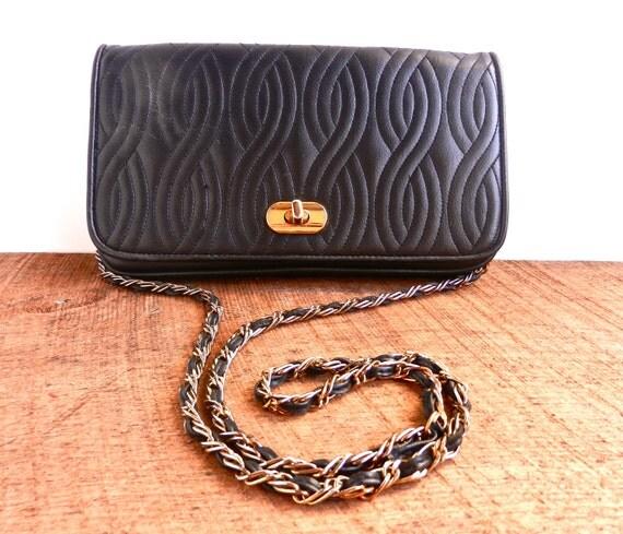 Vintage Black Leather Chain Purse - Genuine Leather Across Body ANDE Bag  /Dark Swirls