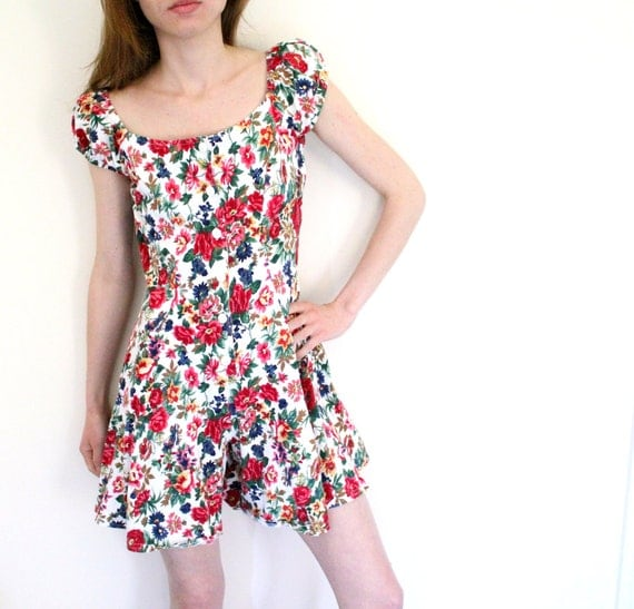 RESERVED FOR MMVINTAGE Short Sleeve Floral Romper Mini Dress / 1980s / Small Medium