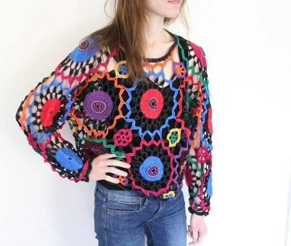 Funky Vintage 1980s Knit Long Sleeve Shirt