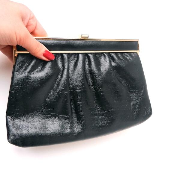 Black Clutch Bag - Vintage 1960s Dark Leather Purse / Classic Clutch