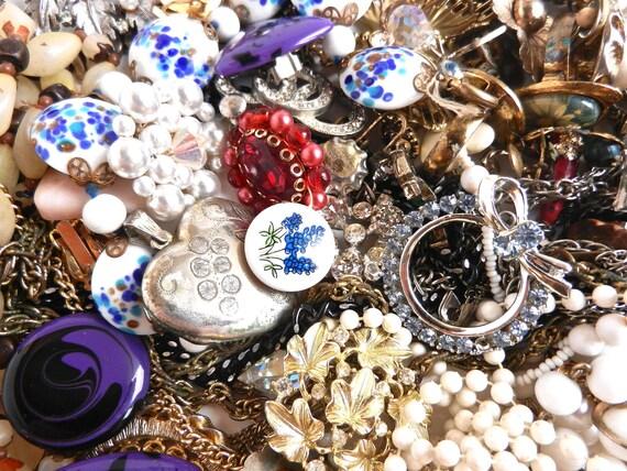Vintage Repair Jewelry Lot -  Broken Pins, Earrings, Rings, Necklaces, Beads... / Estate Destash II