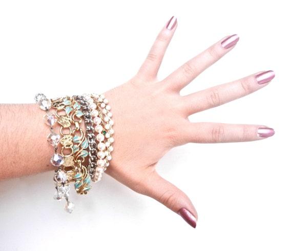 Huge Vintage Bracelet Lot -  Glass Beads, Faux Pearls, & Metal Costume Jewelry / Glam Destash