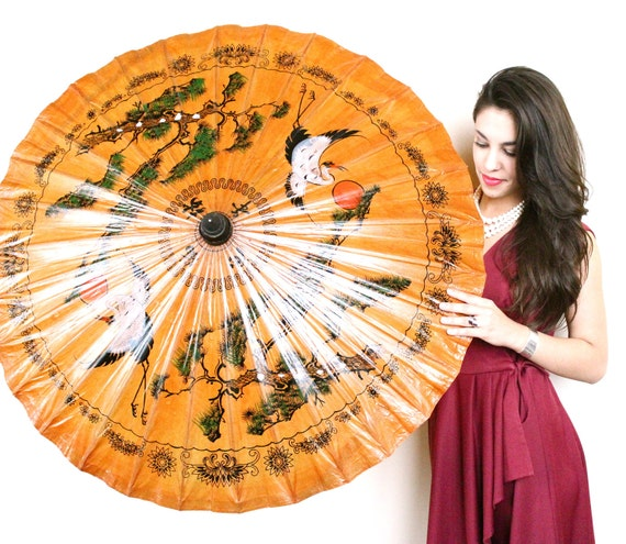 SALE - Vintage Asian Parasol Umbrella -  Large Handpainted Decor / Sun Rays