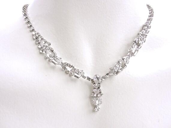 Vintage 1950's Silver Tone Rhinestone Necklace