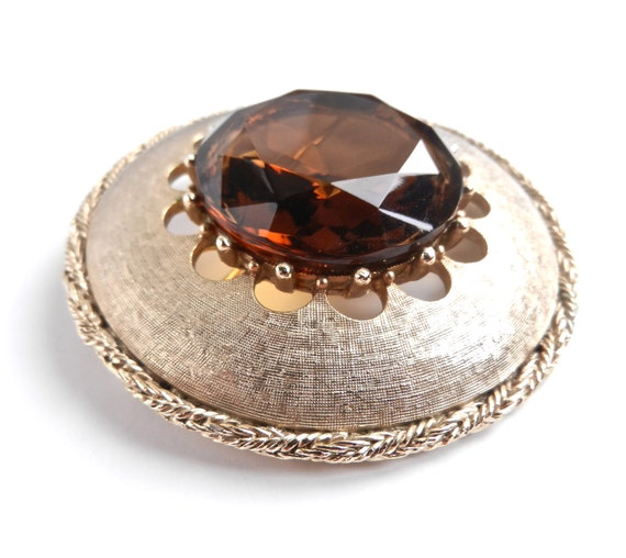 SALE - Huge Brown Glass Brooch - Gold Tone Amber Faceted Costume Jewelry / Mocha Pin