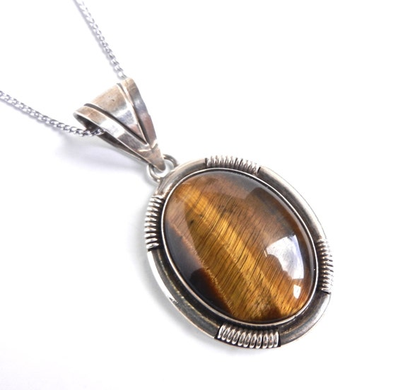 Tiger's Eye Sterling Silver Necklace - Vintage Signed Ione Tissot Pendant / Precious Stone