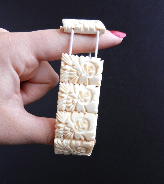 Vintage Preban Ivory Bracelet Chunky Beaded Stretch Jewelry