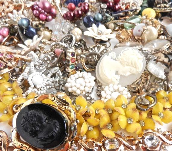 Vintage Broken Jewelry Lot - Cameos, Pins, Earrings, Bracelet, Brooches, Pendants / MaejeanVINTAGE Destash