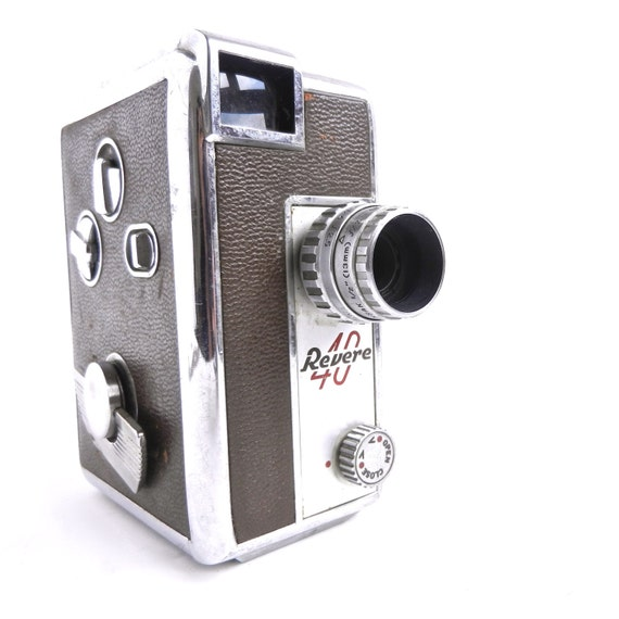 Vintage Revere 40 Movie Camera - Silver & Brown 8mm Movie Recorder / Retro Film