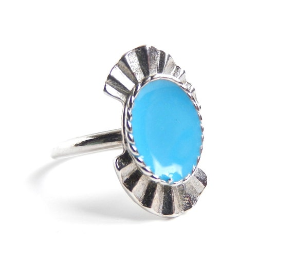 Vintage Teal Ring - Adjustable Silver Tone Costume Jewelry /  Southwestern Blue