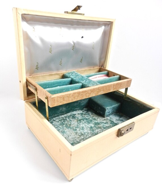 Vintage Mele Musical Jewelry Box -  24K Gold Tooling, Off White Genuine Leather, Teal Lining / Designer Storage