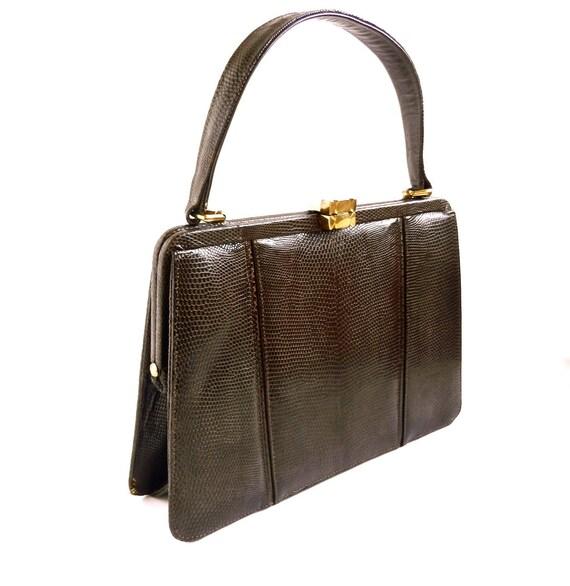Faux Snakeskin Chocolate Brown Sleek Handbag / 1960s