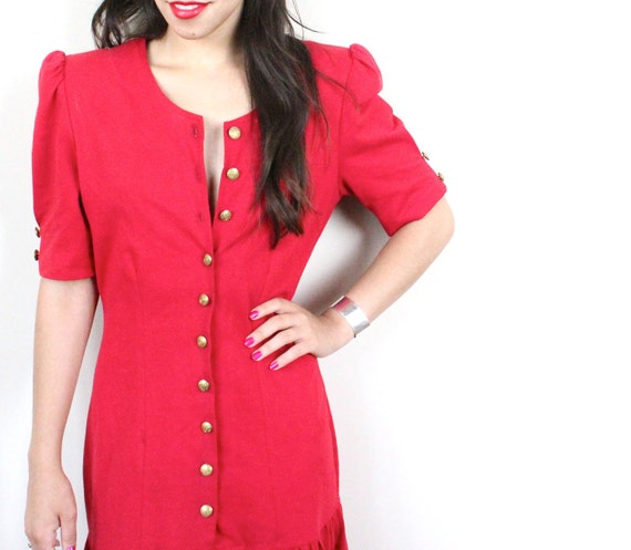 Vintage 1980s Red Button Up Short Sleeve Dress