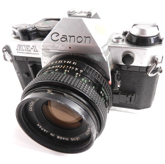 Vintage Canon  AE-1 Program Film Camera - 1970s 50mm Lens Camera / Film Photography