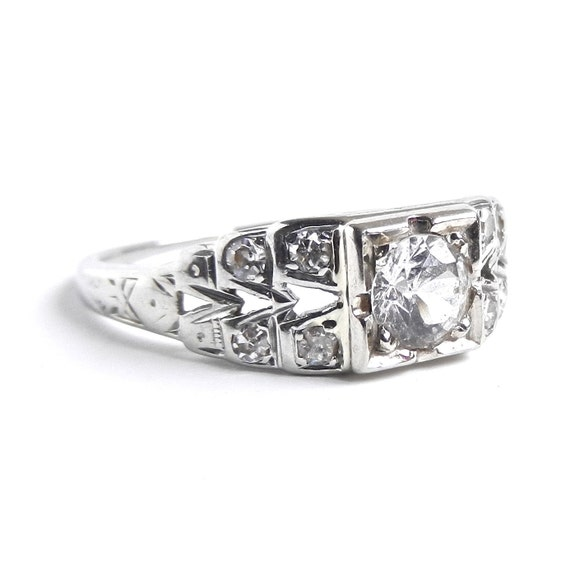 18K Gold Art Deco Faux Diamond Ring - Antique White Gold Size 7 Engagement Fine Jewelry / Wedding Ring