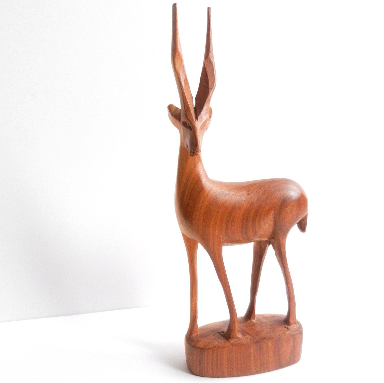 Wooden Antelope Statuette Vintage Carved Deer By