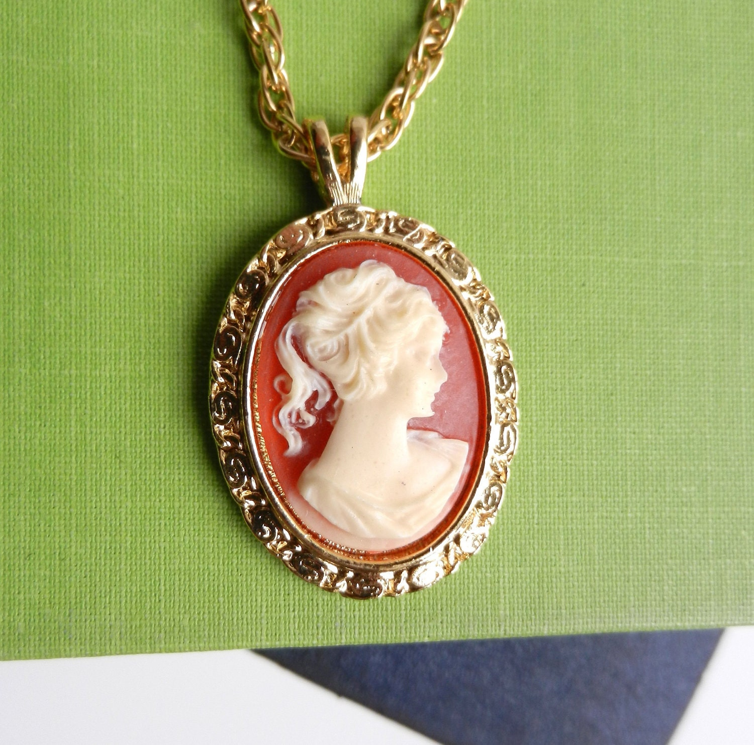cameo necklace vintage gold tone costume by maejeanvintage