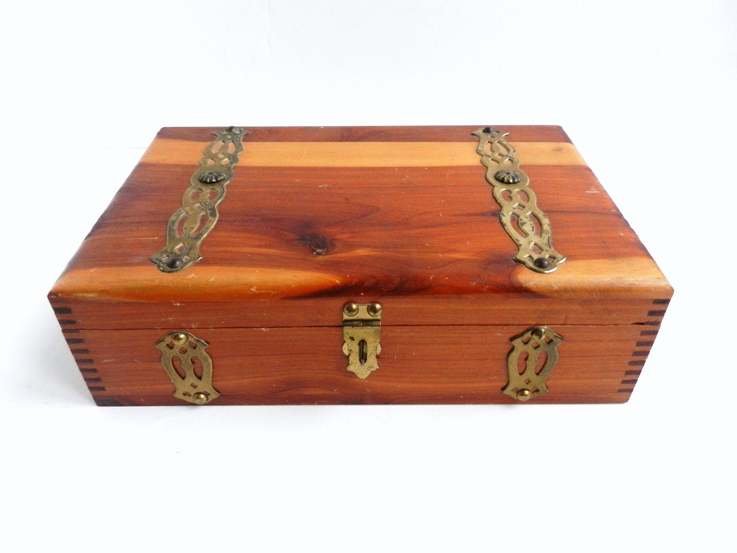Large wooden cigar jewelry box antique cedar wood for Jewelry box made of wood