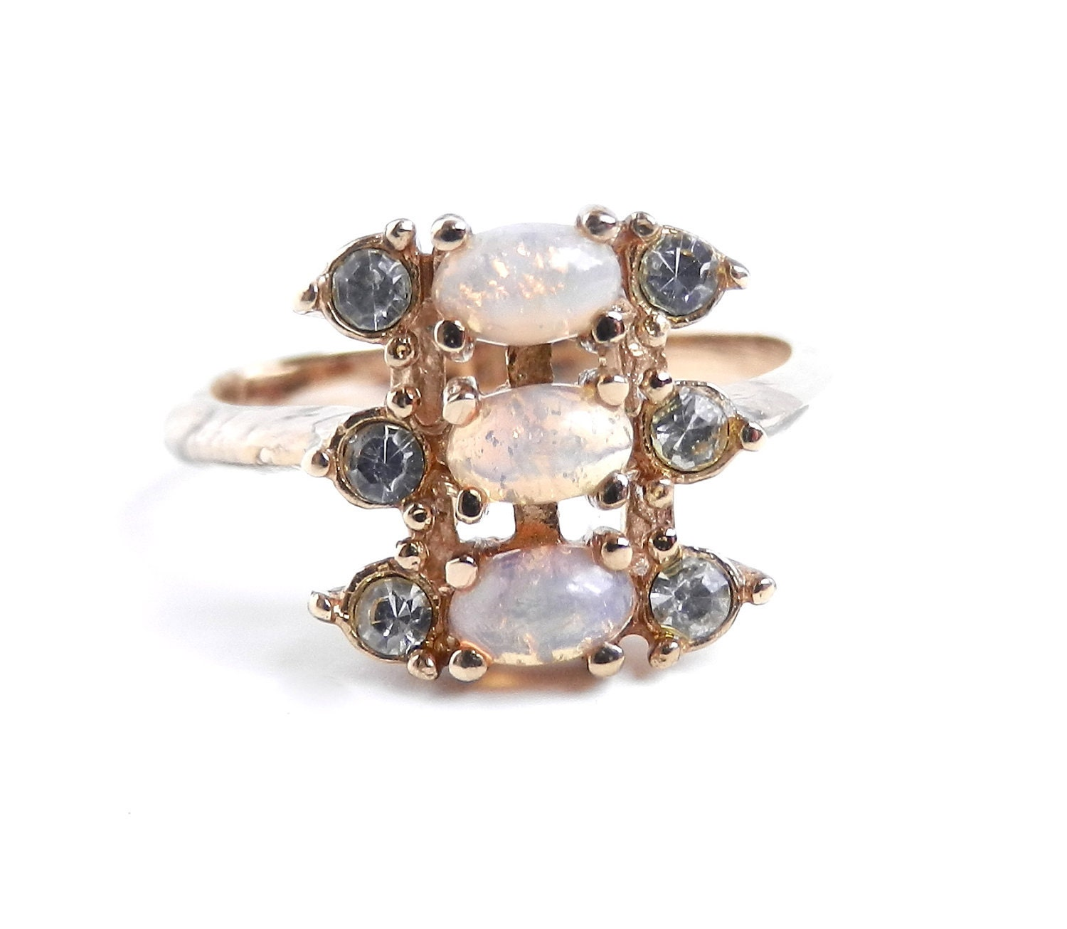 Opal Amp Rhinestone Ring Vintage Size 9 Costume Jewelry