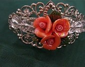 Handcrafted Coral Flower Silver filigree Cuff Bracelet (D137)