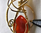 Handmade Red Onyx Cabochon in 14K (P119)
