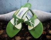 Vibrant Italian Spring Green Sandal - Sz. 9 M